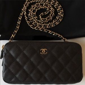 Chanel black double zip wallet on chain